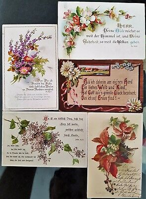 Lot of 5 Germany Antique Old Colour Flowers Verse Greeting WWI Era Postcards
