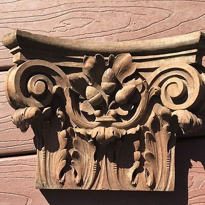 Four Highly Carved Solid Walnut Antique Corbels And One Corner Piece