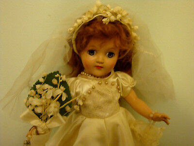 "Vintage Ideal Toni Doll P90 Bride 14"" Redhead Custom Made Gown and Accessories"