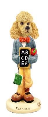Apricot Poodle Teacher Collectible Resin Figurine Statue