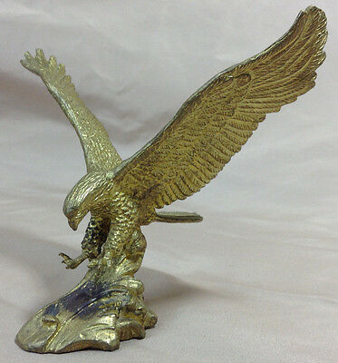 Eagle Figurine Small Brass Colored Metal Flying Eagle