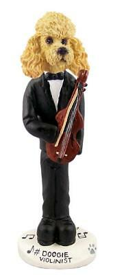Apricot Poodle Violinist Collectible Resin Figurine Statue