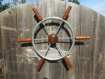 AUTHENTIC 22 inch STAINLESS STEEL WOOD BOAT SHIPS WHEEL SAILBOAT DECOR (#2616)