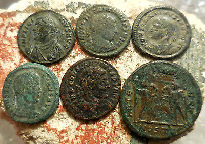 Lot of 6 VF+ Ancient Roman Coins!  Largest 26 mm.