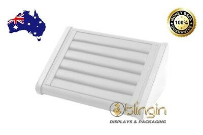 Premium Ring Display tray/stand in White leatherette, 21X14X10cm, Aussie stock