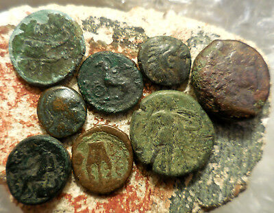 Lot of 8 VF Ancient Greek Coins!  Largest 21 mm.