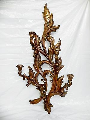 Antique Italian Carved Wood Wooden Gold Wall Sconce 5 Arm Candle Candelabra 36""