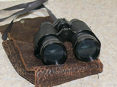 Vintage Antique Made in Germany Unmarked Binoculars & Leather Case OLD