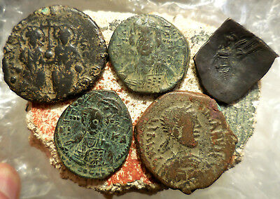 Lot of 5 VF+ Ancient Byzantine Coins!  Largest 33 mm.