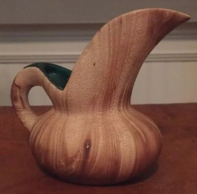Signed Rocky Mountain Pottery Small Ewer Pitcher Brown Swirl  With Green