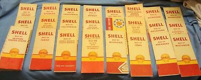 24 Count Lot Of 1940's Shell Road Maps / Includes Route 66 Finger Tip Tours