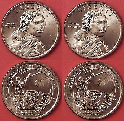 Brilliant Uncirculated 2015 P & D US Native American 1 Dollars From Mint's Rolls