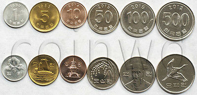South Korea 6 coins set 1968-2015 1 won VF-UNC (# 1809)