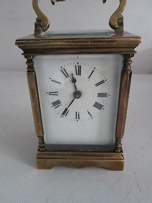 ANTIQUE CARRIAGE CLOCK WITH TRAVEL CASE working but needs good service & clean
