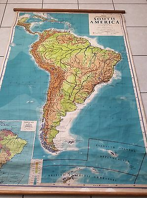 Large vintage canvas school map of South America