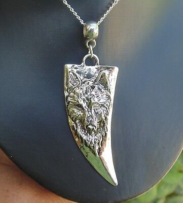 """Wolf Head Pendant Necklace 20"""" - Wicca,Pagan,Halloween, Gothic - BN, Large WOW!"""