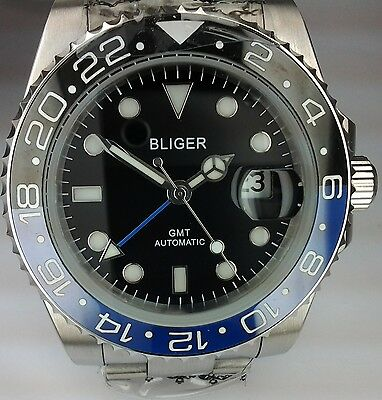 Bliger Automatic Gmt Submariner Power Reserve Mens Uhr Orologio Montre Watch