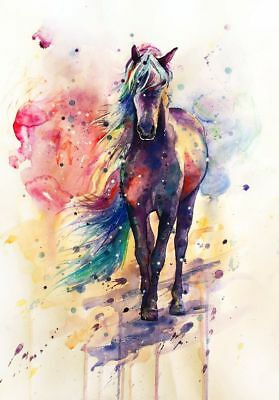 Plastic 5mm  watercolour Horse painting waterproof Ready to hang wall art