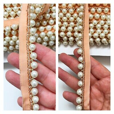 White Pearl Beaded Trimming Fringe Lace Edging Ribbon Wedding Deco Applique