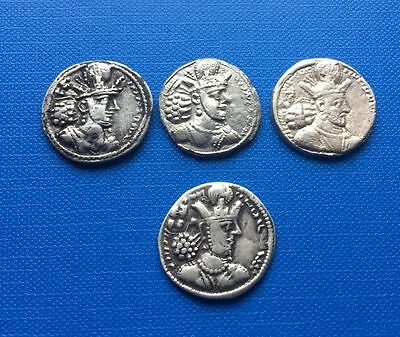 Sassnian Kings Shahpur II drachms lot of 4 coins