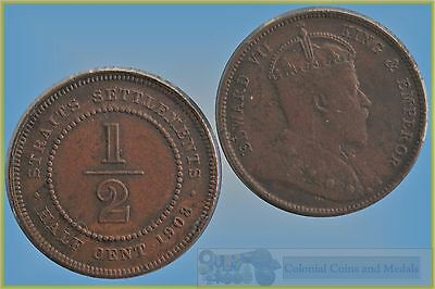 Straits Settlements 1/2  Cent 1908 ....  VF