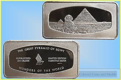 """""""The Great Pyramid of Egypt"""" Wonders of the World Silver Ingot"""