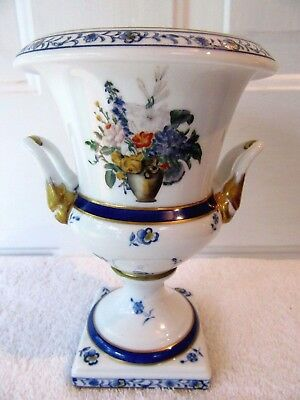 Vintage Peint A La Main French Porcelain Urn Vase Chalice Blue White Gold Gilt