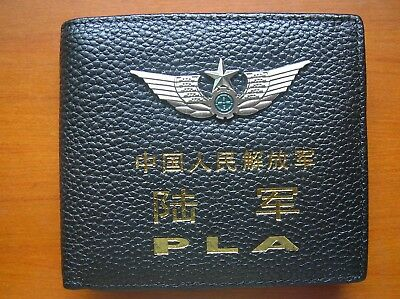15's series China PLA Army Badge Officer Genuine Leather Wallet,AAA
