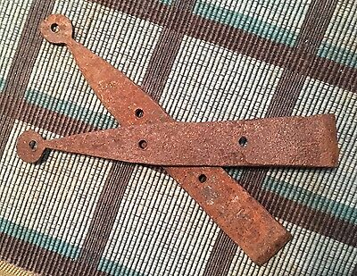 Nice 9 Inch Extra Small Pair Of Early Handwrought Barn/cupboard Strap Hinges