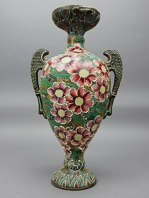 Large Japanese Hand Painted Moriage Vase with two handles 18.5 inches