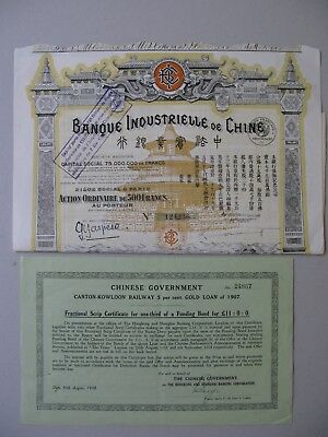 2 Chinese bonds Canton-Kowloon Railway Gold Loan and  Banque Industrielle China