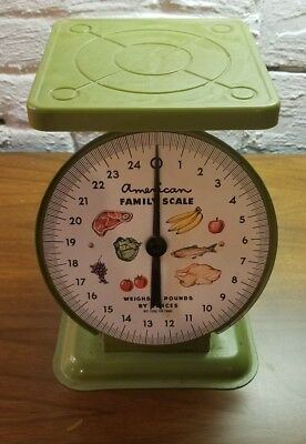 Vintage AMERICAN FAMILY 25 LB Kitchen / Canning Scale green good condition