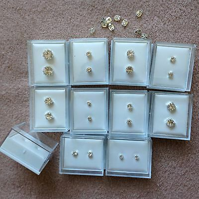 JOB LOT-10pairs of 6 different styles crystal diamonte studs.Gift boxed.UK made.