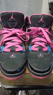 girls size 6y nike air jordans black and pink great shoes
