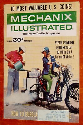 Steam Powered Motorcycle On 1963 Mechanix Illustrated Cover - Vintage 60S