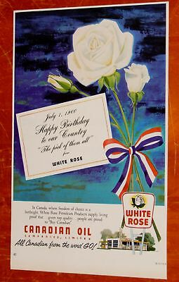 Beautiful 1960 White Rose Canadian Oil Has Ad / Vintage 60S Retro Station Flower