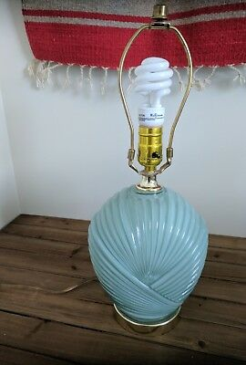 Vintage Lamp, 80's Decor, Light Blue in Color
