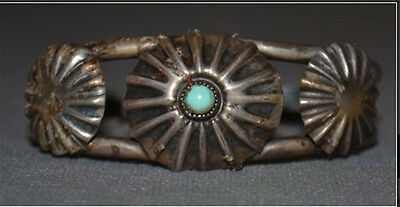 Early Navajo Button Bracelet with Turquoise or Blue Glass Sterling Silver .925