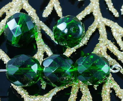 Emerald Green Clear Crystal Large Czech Glass Faceted Round Beads Fire Polished