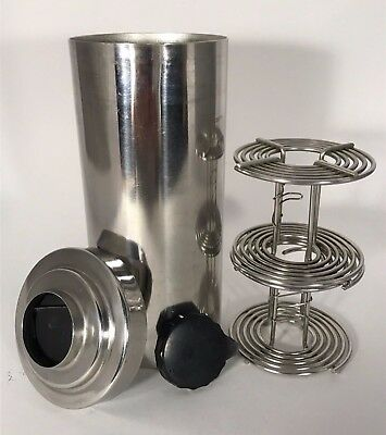 Vintage  Stainless Steel Film Tank with 2 Stainless Steel Film Reels (for 120mm)