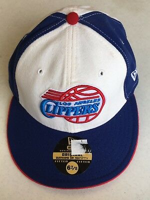new products 52971 b21b8 Retro Los Angeles Clippers White Front Red Button New Era Fitted Hat Free  Ship