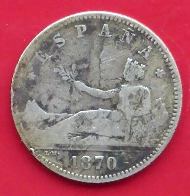 An 1870 Silver One / Una Peseta Coin From Spain