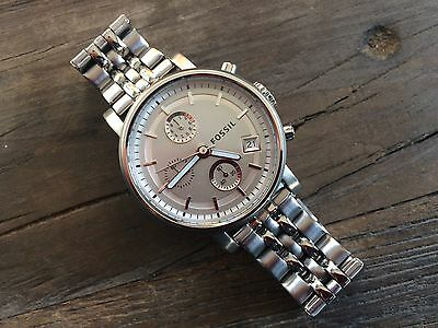 Fossil Boyfriend Ladies Watch! Chronograph-Stainless Steel Bracelet-New Battery!