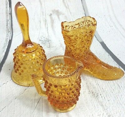 Vintage Amber Hobnail Glass Decorative 3 Piece Set Boot Cup Bell Retro Figures