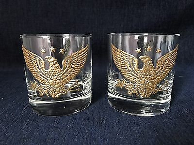 Bar Glass with Patriotic Eagle  Set Of 2