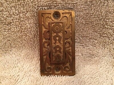 Antique Vintage Fancy Brass Eastlake Victorian Key Hole Keyhole Cover w Swing