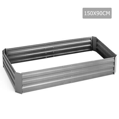 Galvanised Raised Garden Bed - 150 x 90 x 30cm - Aluminium White