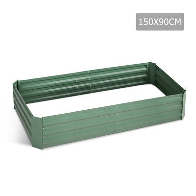 Galvanised Raised Garden Bed - 150 x 90 x 30cm - Green