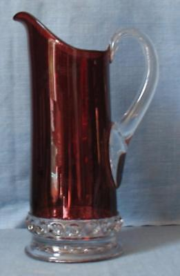 """EAPG CLEAR with RUBY STAIN   """"DAKOTA""""   TALL TANKARD WATER PITCHER"""