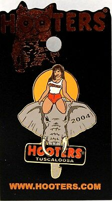 New! Hooters Girl Riding Elephant 2004 Tuscaloosa Al Alabama Lapel Pin